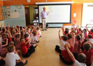 School Fundraising - Elizabeth's Legacy of Hope - Amputee charity - Author Ian Whybrow visits Dickleburgh primary school.
