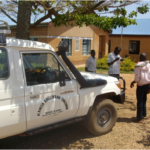 Mobile clinic team arrive at the catholic hospital of Kagondo where the Limb Centre is located