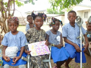 Four of our beneficiaries at Oslo Amputee Camp, Makeni