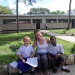 ELoH volunteer Carolin with two Matumaini children