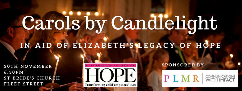Carol Concert, St Bride's Church, Elizabeth's Legacy of Hope, helping child amputees walk